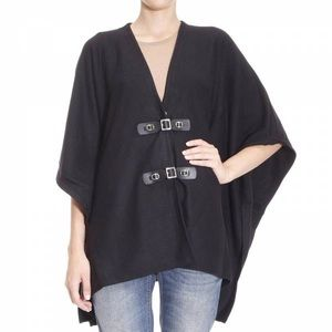 Michale Kors Knit Poncho with Leather Detail